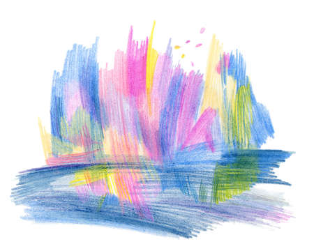 abstract background drawn by a color pencil, the image of group of bright trees Stock Photo - 8698323