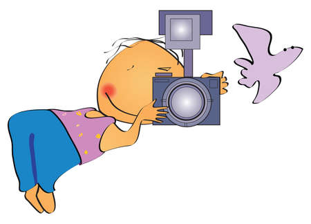 The cheerful drawn photographer with the camera in a hand, and with the taken off birdie Stock Vector - 8773915
