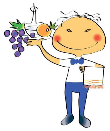 ridicolo: Il ridicolo trafilato cameriere con un vassoio in una mano, su cui decanter e frui