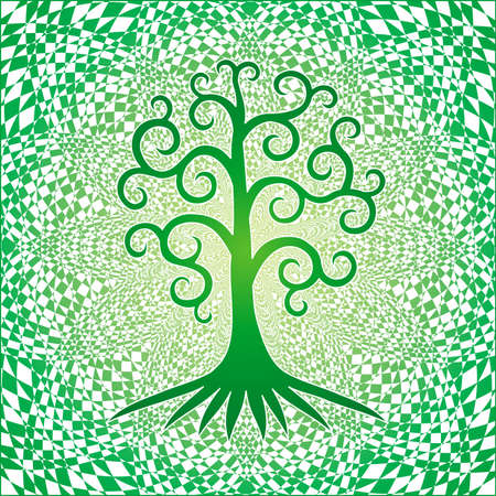 The tree of life. Symbolic drawing mandala. Tree of spirals on a square tracery background. Vector graphics. Çizim