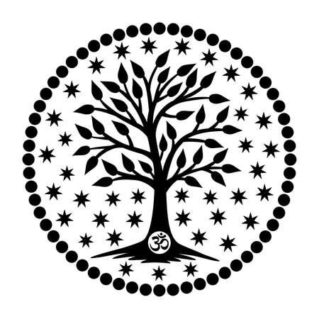 Mandala tree of life with aum / om / ohm sign. Spiritiual symbol. Stock Vector - 116786840