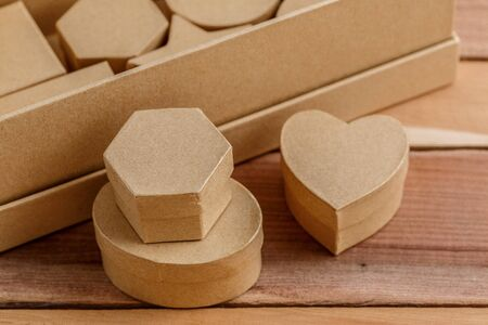 cardboard biodegradable eco-friendly gift boxes on wooden background