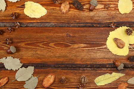 yellow autumn leaves on a dark old wooden background with a blank space for text. top view. flat lay