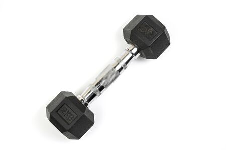 sports dumbbells with black rubber handle on white isolated background