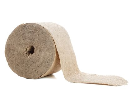 not clarified toilet paper made of untreated coarse paper or cardboard . cheap environmentally friendly option for poor countries. on a white isolated background