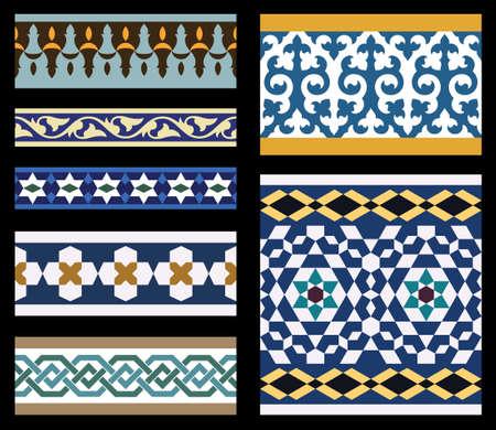 marokko: Set van Traditionele Arabische Borders