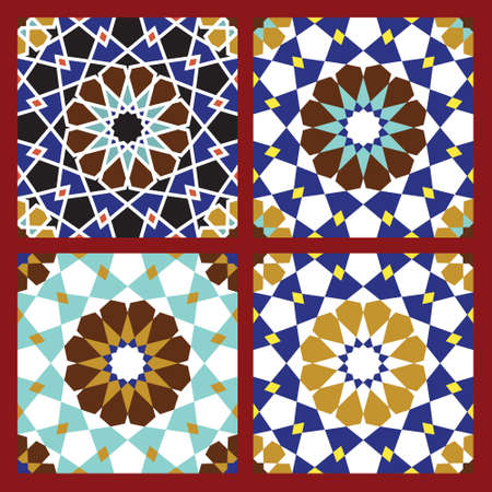 arabic architecture: Set of Traditional Morocco Patterns