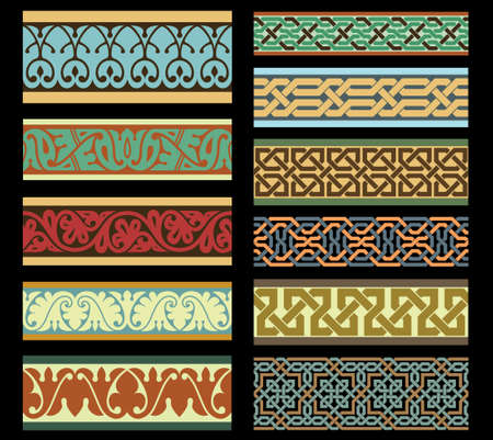 in islamic art: Set of Traditional Arabic Borders Illustration