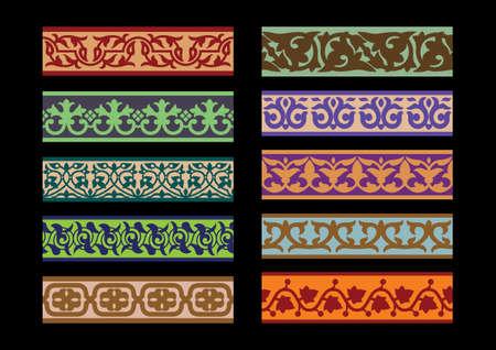 Set of Traditional Arabic Borders Illustration