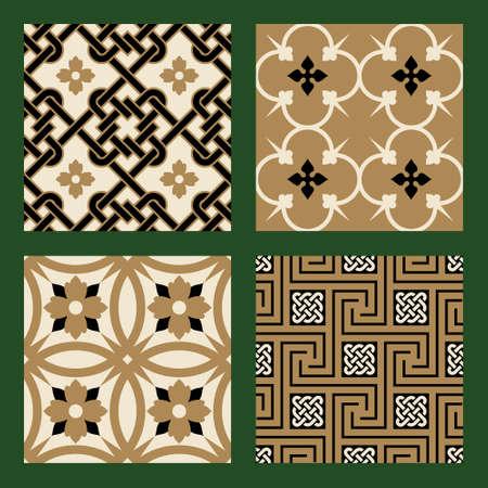 figuration: Victorian Seamless Patterns Set Illustration
