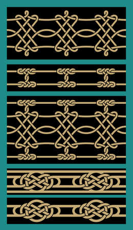 interlaced: Set of Five Interlaced Seamless Pattens Illustration