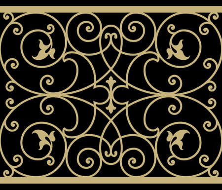 victorian fence: Iron Wrought Seamless Border Seven
