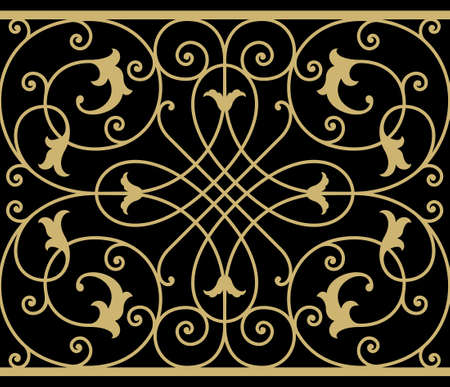 victorian fence: Iron Wrought Seamless Border Eight Illustration