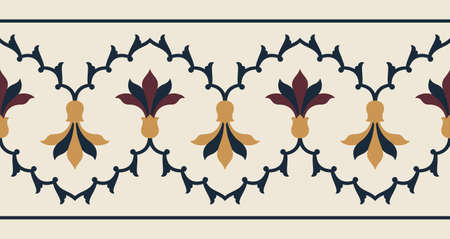 moulding: Indian Floral seamless Border Illustration