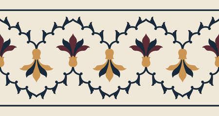 Indian Floral seamless Border Illustration