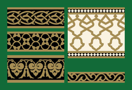 arabesque pattern: Arabic Five Floral seamless Border Set