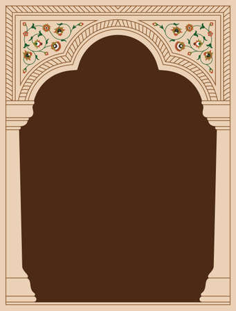 agra: Indian Floral Frame Illustration