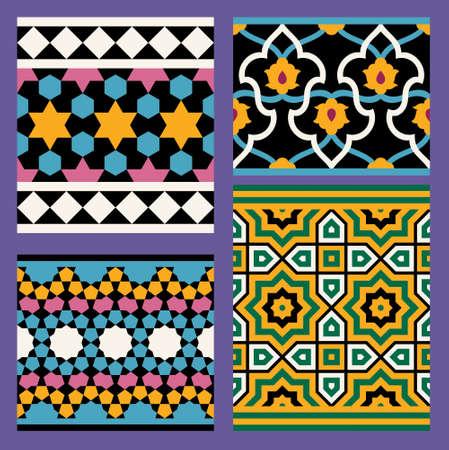 seamless: Arabic Seamless Border Set Illustration