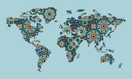 World Map with Morocco Ornament Blue