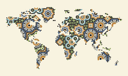 morocco: World Map with Morocco Ornament Illustration