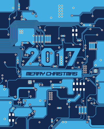 chrismas background: Happy new Year 2017. Merry Chrismas. Blue Electronic Circuit board background.