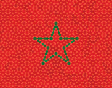 iran mosaic: Abstract Morocco flag. Green mosaic five point star on red mosaic background.