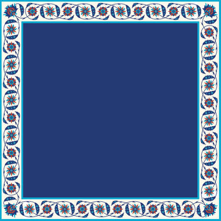 alhambra: Arabic Floral Frame. Traditional Islamic Design. Mosque decoration element. Elegance Background with Text input area in a center.