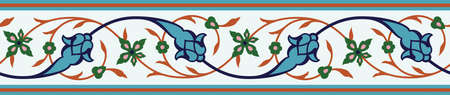 Arabic Floral Seamless Border. Traditional Islamic Design. Mosque decoration element.