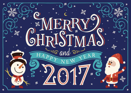 2017 Happy New Year. Greeting card, Christmas card with Santa Claus and snowman Stock Illustratie