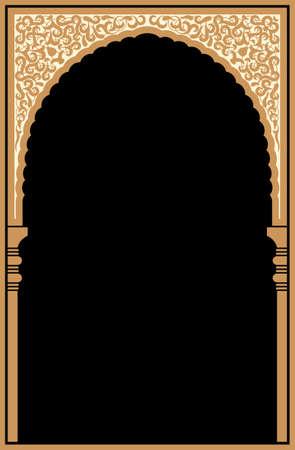 Rabe Arco floral. Antecedentes islámica tradicional. Mezquita elemento de decoración. Antecedentes de la elegancia con el área de entrada de texto en un centro. Foto de archivo - 61108537