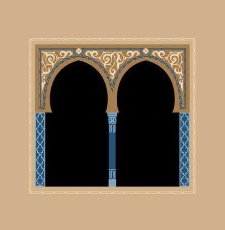 아랍어 꽃 아치. 전통적인 이슬람 배경입니다. 모스크 장식 요소입니다. 센터의 텍스트 입력 영역과 우아함 배경입니다.