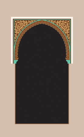 alhambra: Morocco Arch. Traditional Islamic Background. Mosque decoration element. Elegance Background with Text input area in a center.