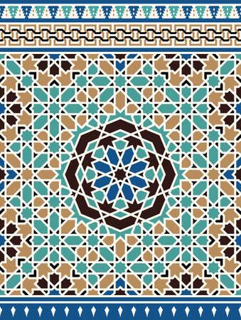 alhambra: Morocco Seamless Border. Traditional Islamic Design. Mosque decoration element.