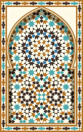 Arco árabe. Antecedentes islámica tradicional. Mezquita elemento de decoración. Antecedentes de la elegancia con el área de entrada de texto en un centro.