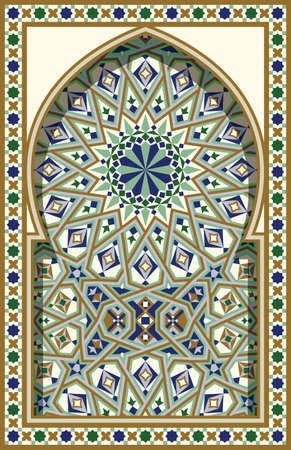 arabesque: Arabic Arch. Traditional Islamic Background. Mosque decoration element. Elegance Background with Text input area in a center.