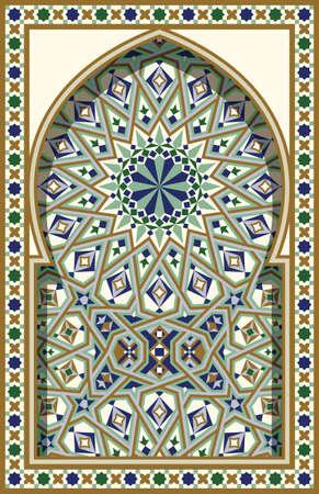arabesco: Arco árabe. Antecedentes islámica tradicional. Mezquita elemento de decoración. Antecedentes de la elegancia con el área de entrada de texto en un centro.