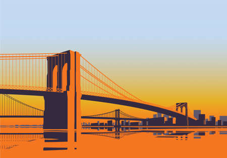 Brooklyn Bridge panorama in the morning sunrise over East River in New York City