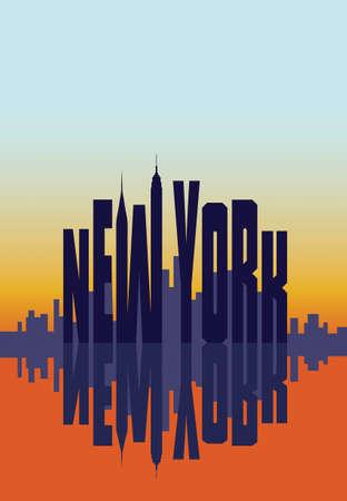 morning sunrise: New York city in the morning sunrise poster. Template for travel card Illustration