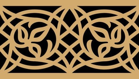 alhambra: Arabic Floral Seamless Border. Traditional Islamic Design. Mosque decoration element.