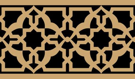 アラビア語の花柄シームレスな境界線。伝統的なイスラムのデザイン。モスクの装飾要素。