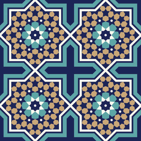 alhambra: Morocco Seamless Pattern. Traditional Arabic Islamic Background. Mosque decoration element. Illustration