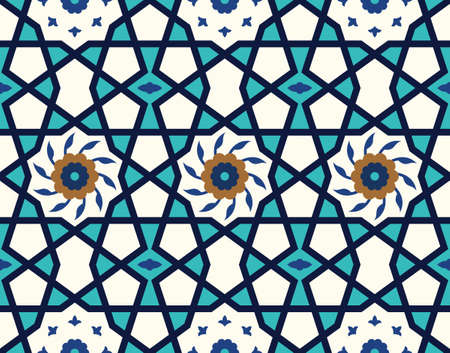 alhambra: Arabic Floral Seamless Pattern. Traditional Arabic Islamic Background. Mosque decoration element. Illustration