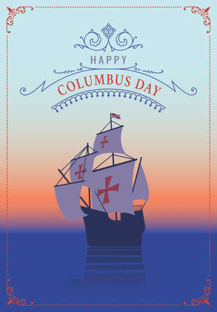 christopher columbus: Columbus day. Old schooner. Santa Maria. Greetings Card Illustration