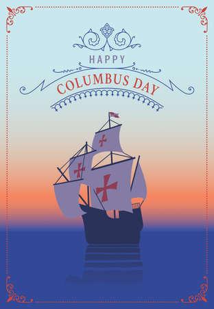 Columbus day. Old schooner. Santa Maria. Greetings Card Illustration