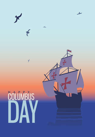 Columbus day. Old schooner. Santa Maria. Greetings Card Illustration