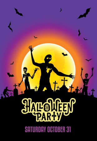 Halloween party invitation template with zombies, bats and the shining moon on the cemetery. Scary horror background.