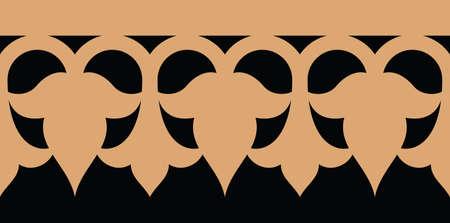 alhambra: Arabic Floral Seamless Border. Traditional Islamic Design. Mosque decoration element.