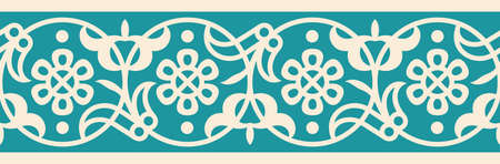 pattern antique: Arabic Floral Seamless Border. Traditional Islamic Design. Mosque decoration element.