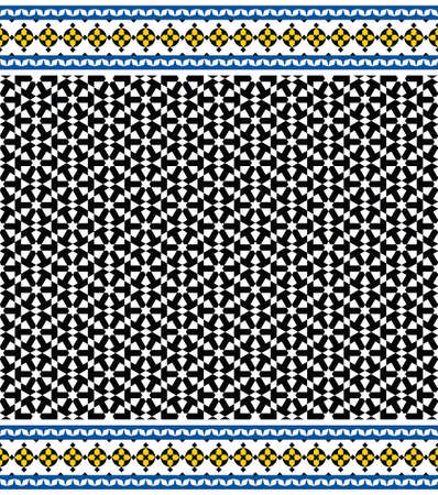alhambra: Morocco Seamless Border. Traditional Islamic Design. Mosque decoration element.