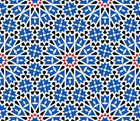 Morocco Seamless Pattern. Traditional Arabic Islamic Background. Mosque decoration element. Ilustracja